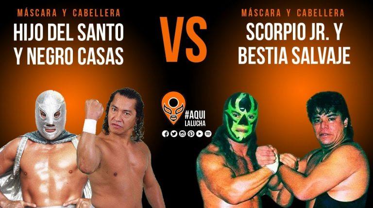 Hijo del Santo y Negro Casas vs Scorpio Jr y Bestia Salvaje. Aquí La Lucha