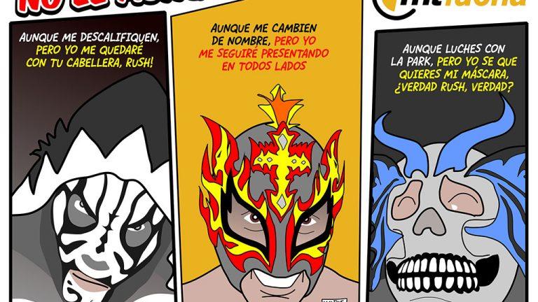 luchadores L.A. Park, Rey Fenix y Kraneo, dibujo de kcidis