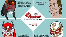 luchadores penta zero m, volador jr, dragon lee y caristico. caricatura de kcidis