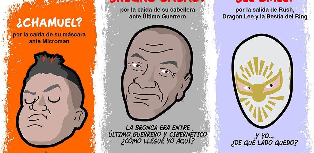 dibujos de lucha libre, aniversario cmll, negro casas y mistico por kcidis