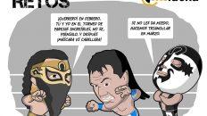 caricatura de los luchadores bandido, ultimo guerrero y cuatrero